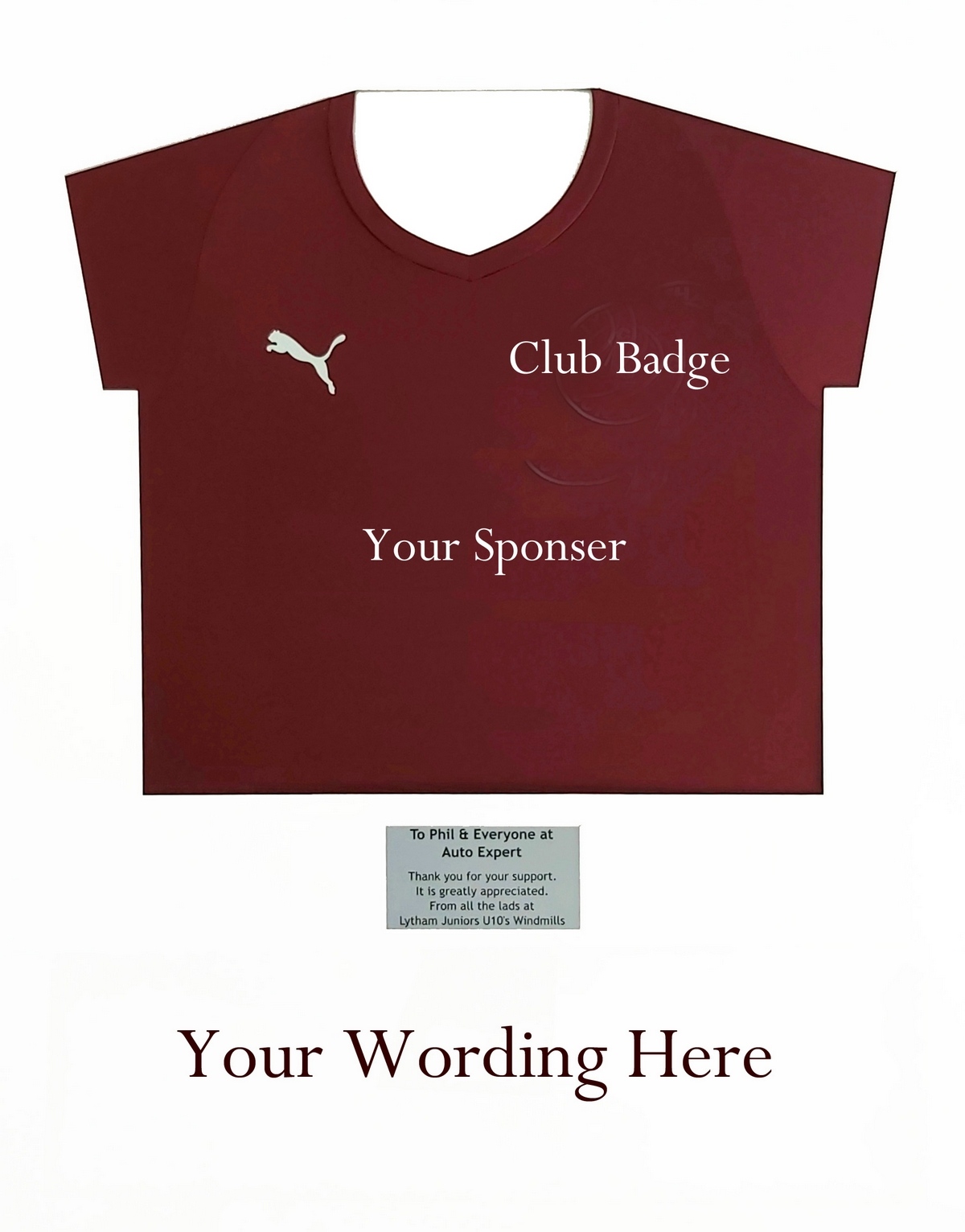 Sports Shirt with Wording and Plaque