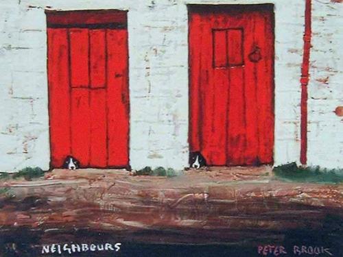 Neighbours - Framed Embellished Print